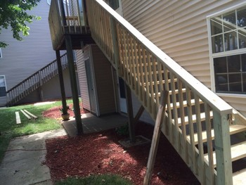 Replacement of old deck and steps on second floor condo Hampton, VA
