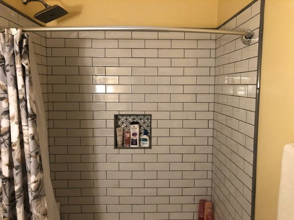 Bathroom Remodeling in Williamsburg, VA. Full Bathroom remodeled; new drywall finished and painted, new wiring, lighting, vanity and vanity top, tiling and sink plumbing. (5)