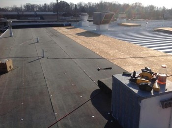 New rubber roof at the tidemill shopping center in Hampton Va