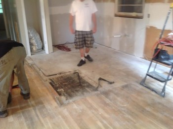 New tile kitchen floor and hard wood flooring refinishing project in Hampton VA